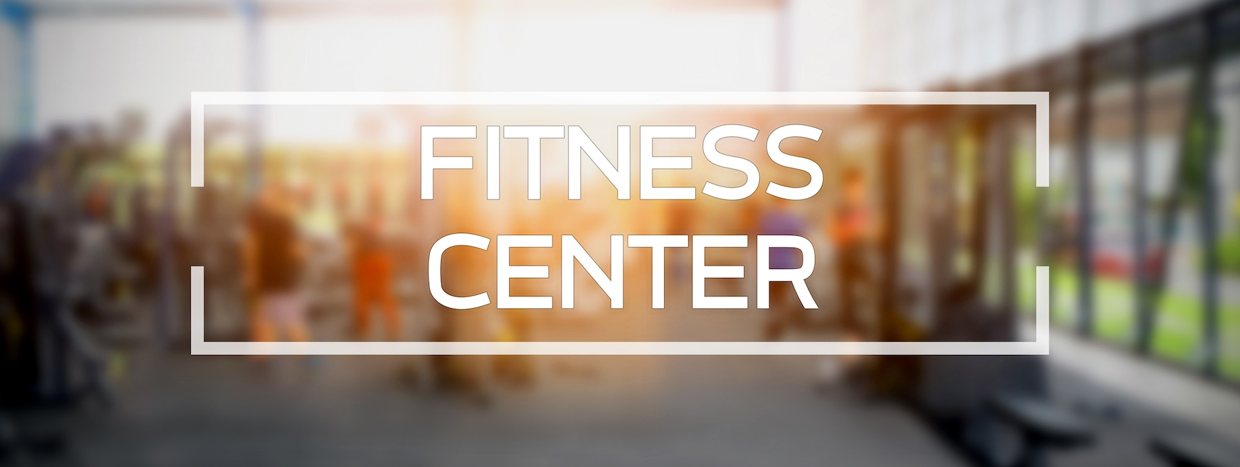 Fitness center word on fitness gym blur background banner presentation.
